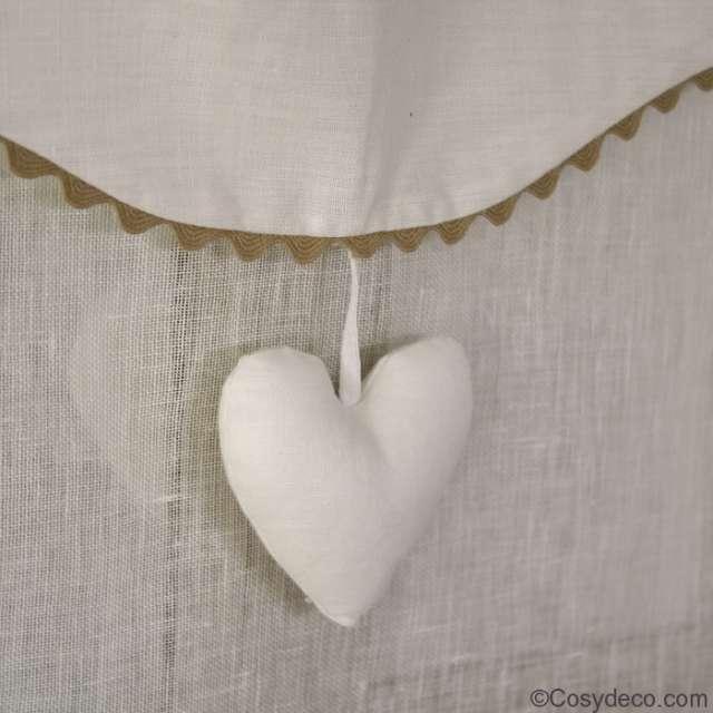 Store réglable coeur en Lin et croquet largeur au choix