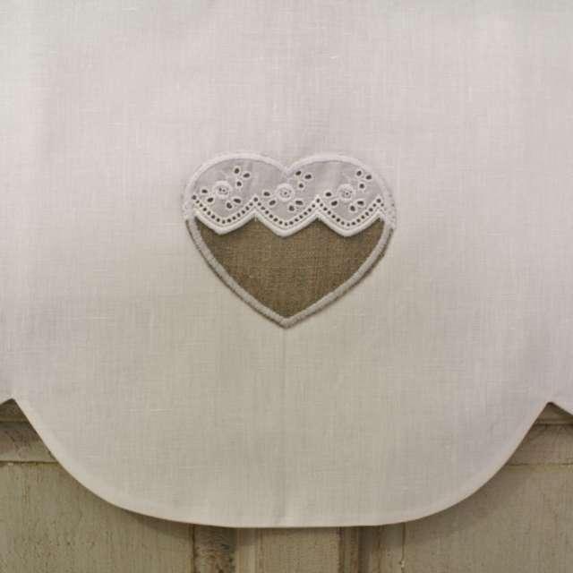 Cantonniere Coeur en lin brodé