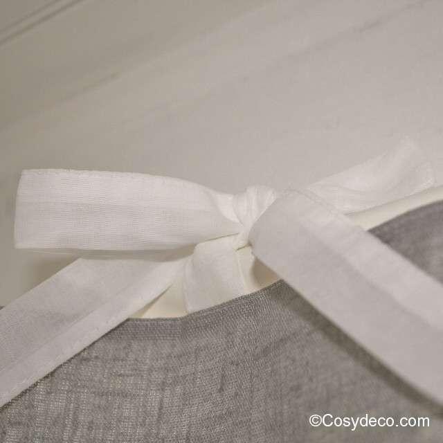 Cantonniere Lin blanche et Grise Ambiance féminine 140cm