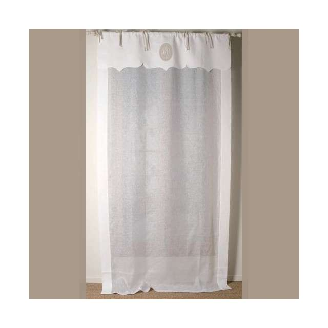 rideau long brod en lin blanc sur mesure style ancien. Black Bedroom Furniture Sets. Home Design Ideas