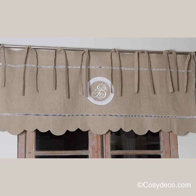 Cantonniere Lin Naturel 140cm Decoration Monogramme