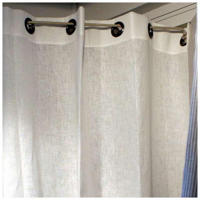 rideau en lin blanc sur mesure finition oeillets m tal. Black Bedroom Furniture Sets. Home Design Ideas