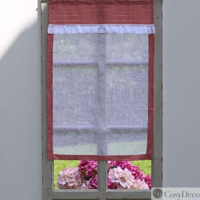 rideau brise bise vichy rouge pour une cuisine style. Black Bedroom Furniture Sets. Home Design Ideas