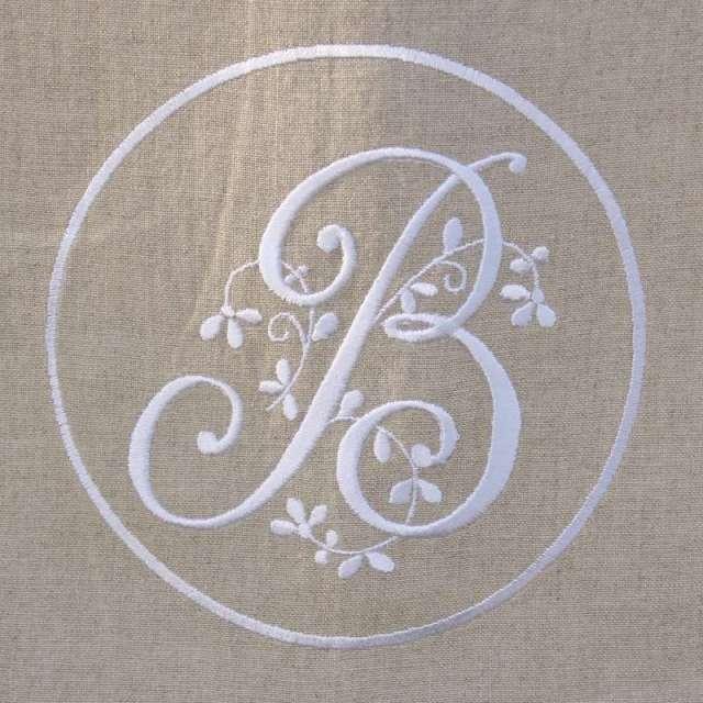 Cantonnière Lin Monogramme Brodé style ancien