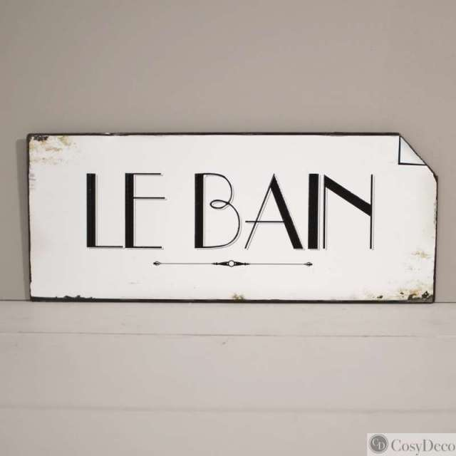 Plaque Le Bain Vintage Ambiance Rétro dans la boutique en ligne CosyDéco