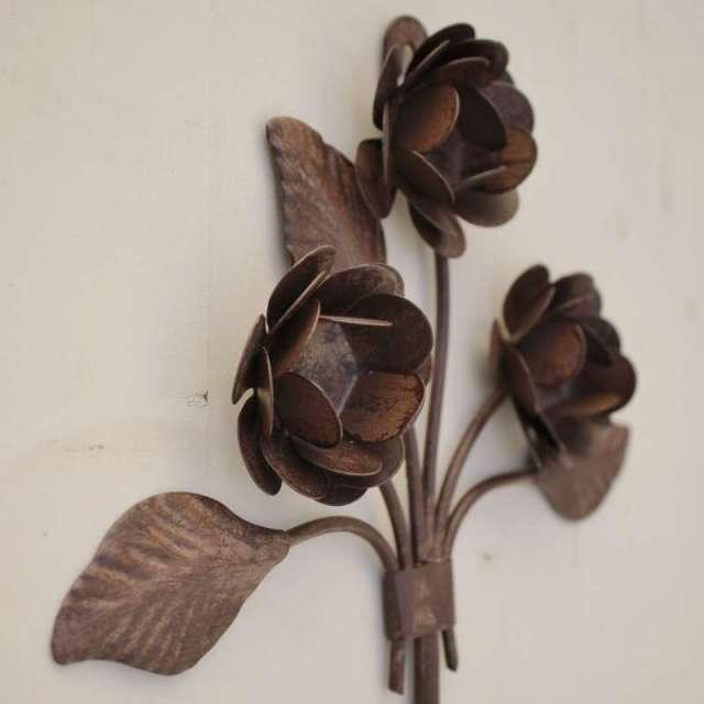 Porte manteau fer deco roses anciennes