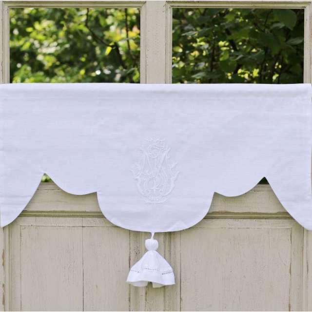 Cantonniere lin Blanc Style ancien Monogramme