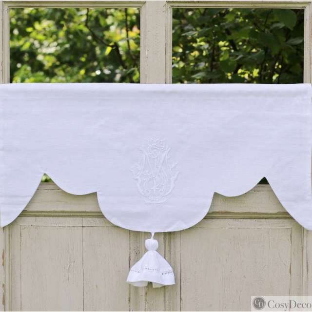 Cantonniere lin Blanc Style ancien Monogramme