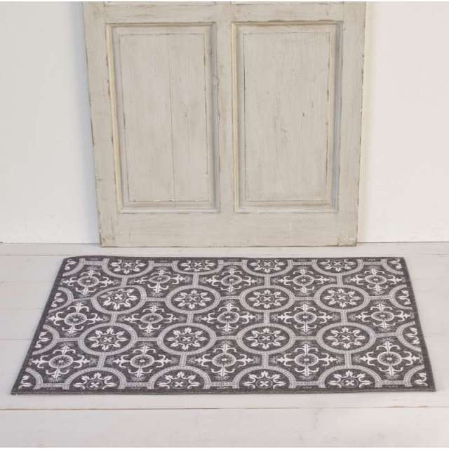 Tapis Carreaux de Ciment Gris lavable machine
