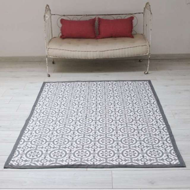 Tapis Carreaux de Ciment Gris blanc