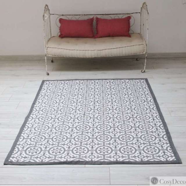 Tapis Carreaux De Ciment Blanc Et Gris Absorbant Et Lavable En Machine