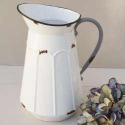 Pichet broc à eau Métal blanc