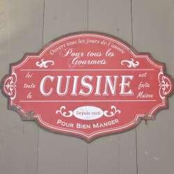 Plaque métallique Cuisine Style Rétro