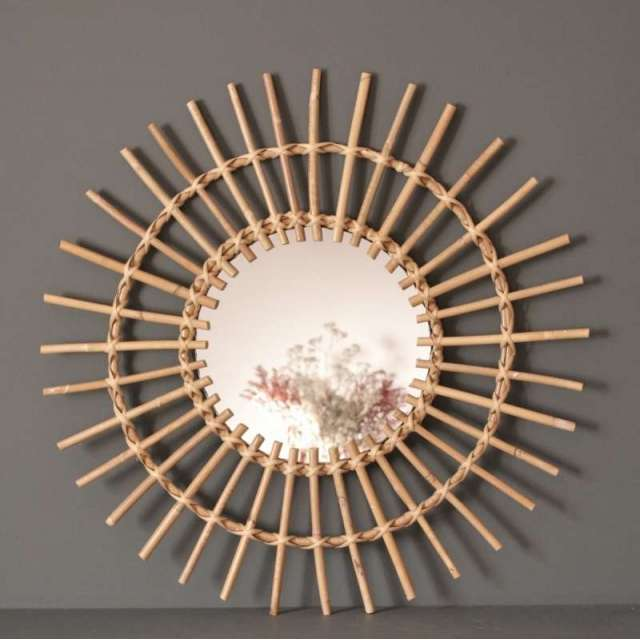 Miroir Soleil Rotin naturel Chehoma deco