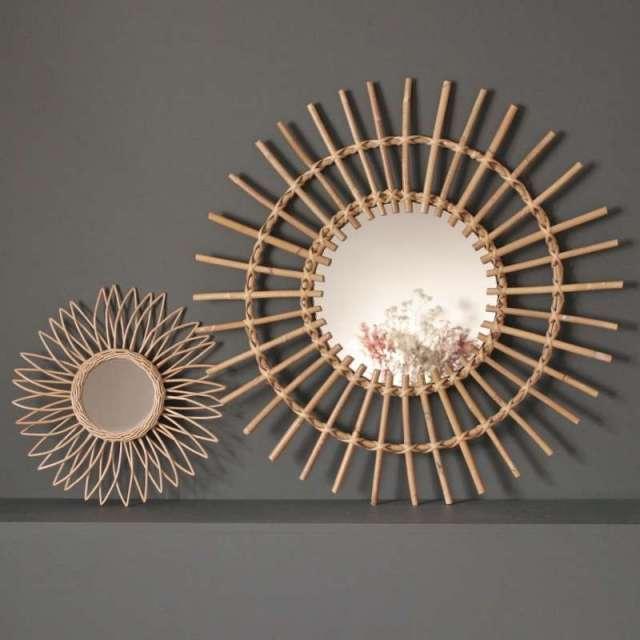 Miroirs Soleil Rotin naturel Chehoma