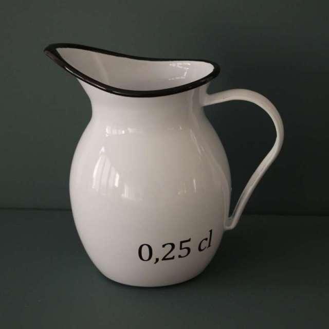 Pichet broc à eau emaillé blanc