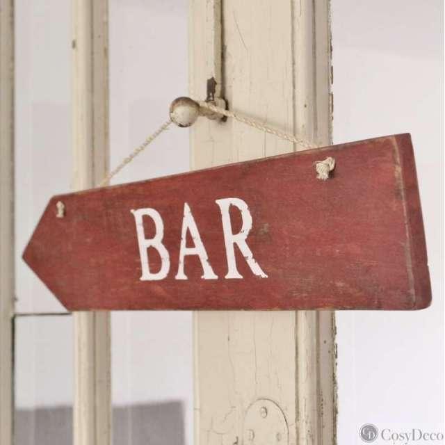 Plaque en Bois Rouge inscription Bar
