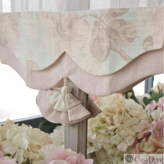Brise-Bise Shabby-Chic Fleuri Rose Pastel