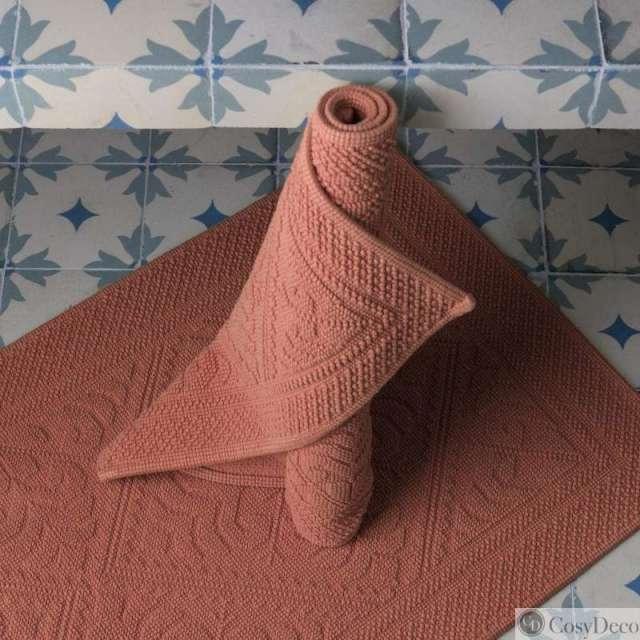 Tapis de bain Enzo Vivaraise style hammam Coloris Blush