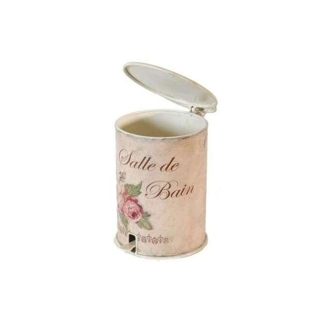 Poubelle roses style ancien romantique à pédale