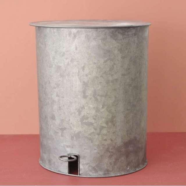 Poubelle zinc style rétro à pédale