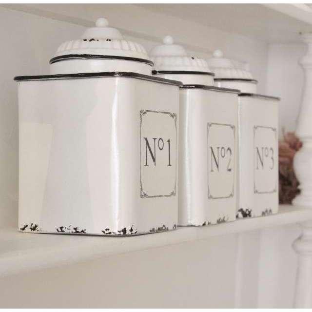 Série de pots de cuisine émaillés blanc et noir Rétro chic