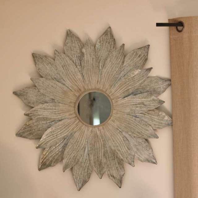 Grand Miroir Soleil Chehoma Métal Patiné