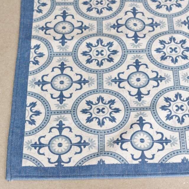 Tapis Cosy Carreaux ciment bleu Lavable en Machine