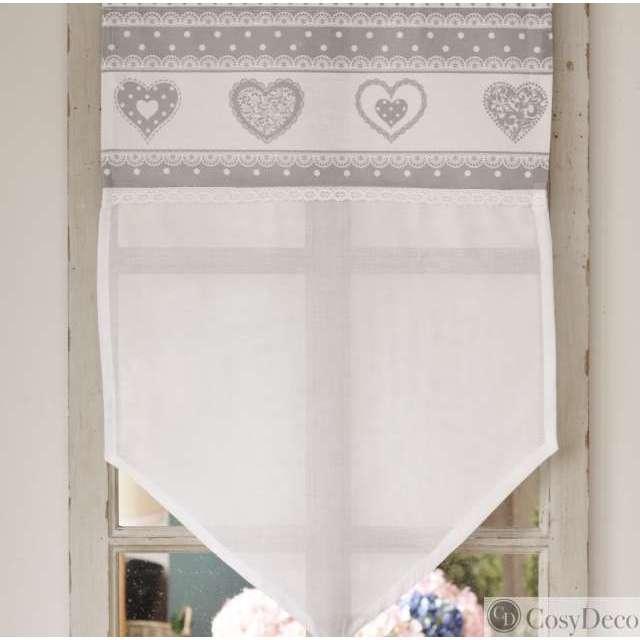 rideau Brise-Bise coeur gris romantique