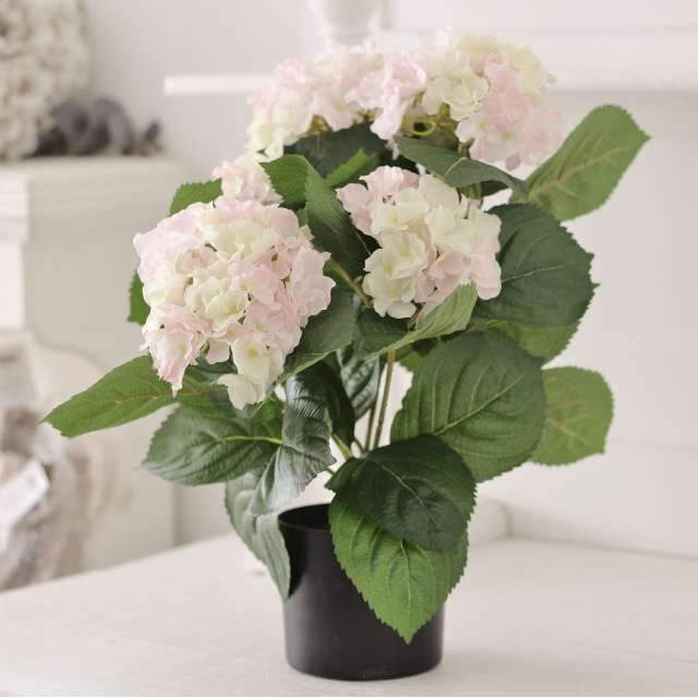 Pot d'Hortensias Artificiels Rose Shabby Chic
