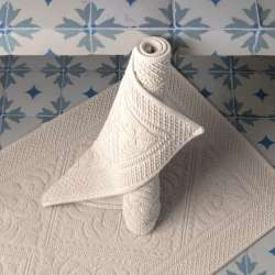 Tapis de salle de bain Blanc cassé style hammam
