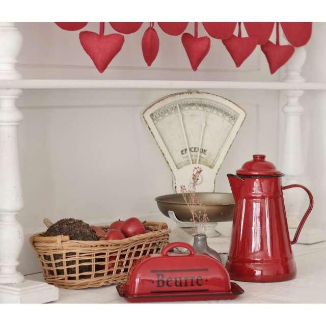 Cafetière métal Rouge Cuisine style rétro