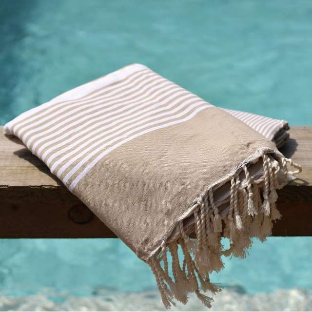 Fouta Grande Taille Rayures Beiges 3x2m
