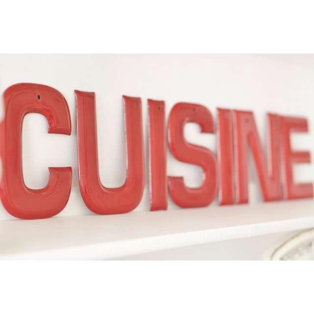 Plaque Cuisine Décoration Rétro Rouge