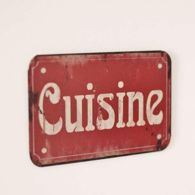 Plaque Cuisine métal Rouge ambiance Bistrot Rétro