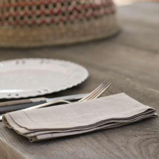 Lot de 4 serviettes de table Lin Naturel brodé